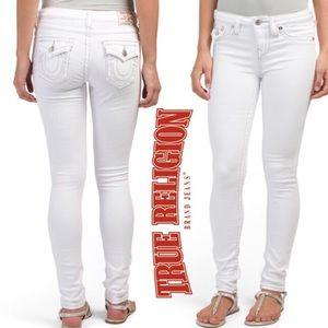 True Religion White Flap Pocket Denim Skinny Jeans